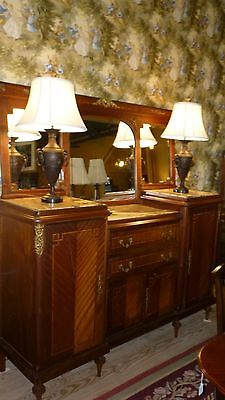 Antique French Sideboard with Marble Top Inserts and Triple Mirror Backsplash