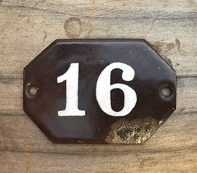 Small Vintage Porcelain Number Sign ~ Number 16 ~ Antique Porcelain Number