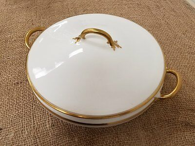 1920s Pope Gosser Soup Tureen WHITE & GOLD LEAF SOUP TUREEN WITH HANDLE