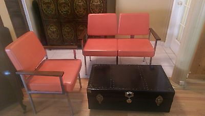 Mid-Century Modern  Orange   Heavy Metal Bench and Chair - all original 1970s