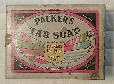 Vintage Packer's Tar Soap box with soap