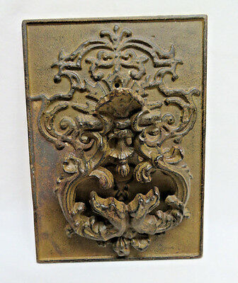 Antique Victorian Bronze Wall Plaque Door Knocker