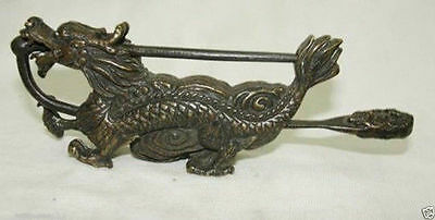 Dragon Year~Rare Chinese old style Brass Carved Dragon lock with key #203