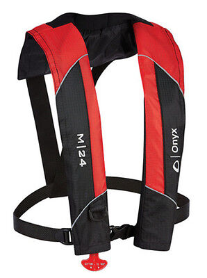 Onyx M-24 Co2 Manual Inflatable Life Jacket Pfd Vest Preserver 3100Red