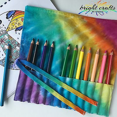 Rainbow Tie Dye coloured Pencil Wrap 12 pockets make up brushes, paint brushes