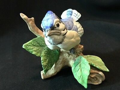 Baby Bluebird Sitting On A Branch~ Porcelain Figurine