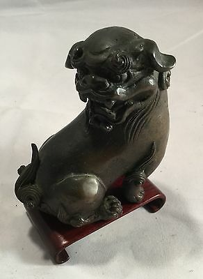 Gorgeous Antique Asian Chinese Bronze Foo Lion Dog Statue