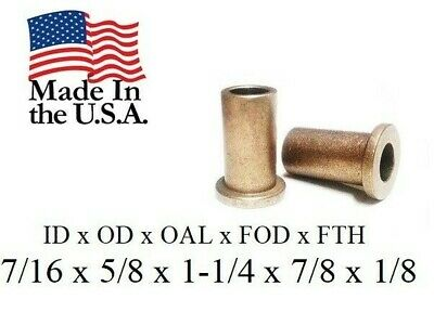 """2pc Bronze Flanged Bushing Oilite, FB710-10, 7/16""""x 5/8""""x 1-1/4"""" Lg, Made In USA"""