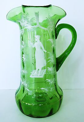 Large Exceptional Detail 1880s Green Mary Gregory Pitcher/Vase Girl on Swing
