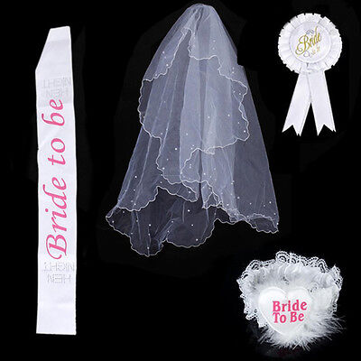 Hot Hen Night Party Do Bride To Be White Rosette Badge Sash Lace Garter Veil Set
