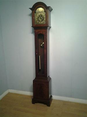 Traditional style grandmother clock mahogany case weight driven chiming