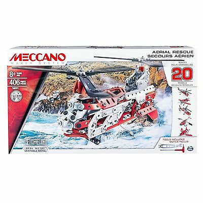 Meccano Aerial Rescue Helicopter Set Makes 20 Models