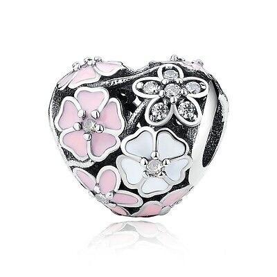 Sterling Silver EUROPEAN Charm Poetic Blooms Heart Enamel CZ +FREE Pandora Cloth