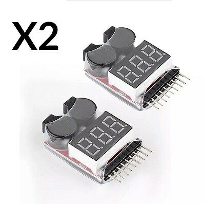 2X RC LiPo Battery Low Voltage Tester 1-8S Buzzer Alarm Checker LED Indicator