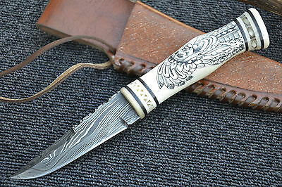 "Huntex Handmade Damascus Unique 9"" HAND ENGRAVED RED INDIAN SCRIMSHAW Knife"