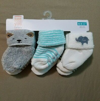 NEW Just One You BY Carter's 6pk Terry Socks~SIZE 0-3 MONTHS