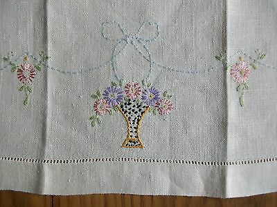 "Vintage 21"" Linen Tea Towel ~ Hand Embroidered Flower Basket ~ Hemstitch Edges"