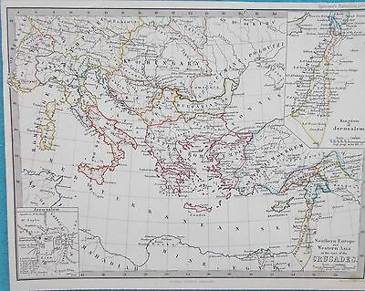 Map of Southern Europe & Syria at  time of Crusades. c1880.