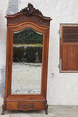 Vintage French Coquille Walnut Wood Armoire Wardrobe