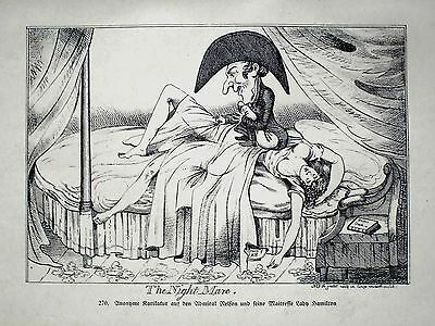EROTICA:. ANONYME Karikatur.1908 a.d.Admiral Nelson.....THE NIGHT MARE:LITHO: