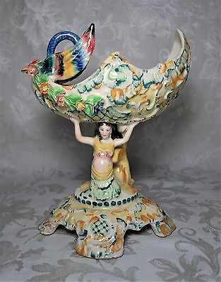 """Vintage Paul's Italy Hand Painted Art Pottery Ceramic Bird Mermaid Compote 10.5"""""""