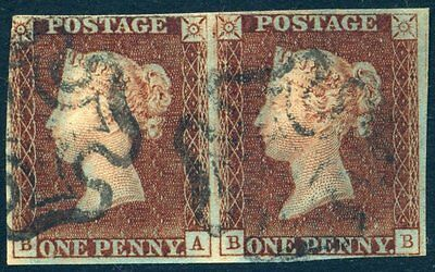 'BA' State 1 'BB' State 2 1841 1d Red plate 9 (BA-BB) Pair c£915.00+