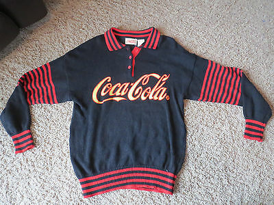 Vintage 1986 80's Coca-Cola Coke Black/Red Sweater Collared Large Cotton/Ramie