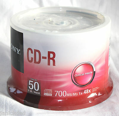 SONY Blank CD-R 50 Pack  1x-48X 700MB Optical Media Disc with Shrink Wrap