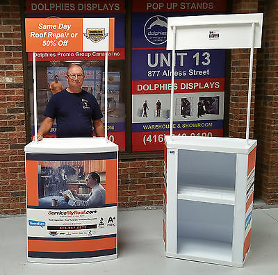 Trade Show Marketing Event Portable PROMO Table Counter Pop Up Kiosk + GRAPHICS