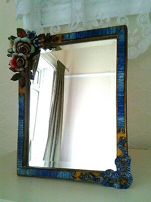 Outstanding Art Deco Bevelled Glass Barbola Mirror Ribbon Effect, Large Flowers.