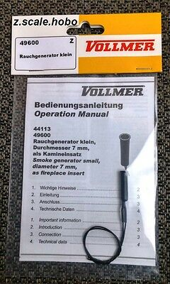 Vollmer 49600 9600 Z Scale Smoke Generator 7mm Diameter *NEW *USA DEALER $0 SHIP