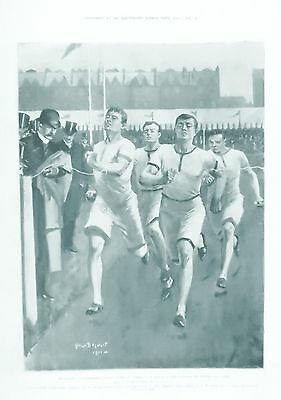 OLD ANTIQUE PRINT OXFORD CAMBRIDGE UNIVERSITY RUNNING ATHLETICS c1901 SPORTS