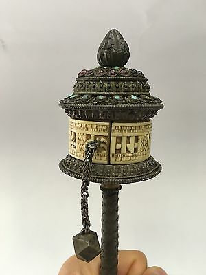 Very rare and important silver with gemstones Chinese Tibetan Prayer Wheel