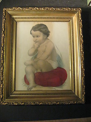 ANTIQUE GOLD WOOD GESSO ORNATE 13-1/2 x 18  FRAME with C&I Baby Print