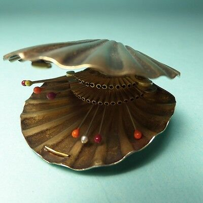 Sterling Needle Case Scallop Shell Antique French Depose 925 Hinged Victorian