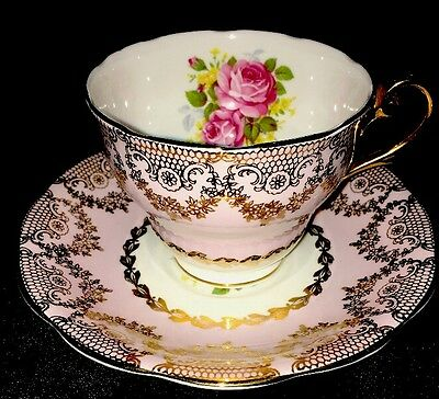 Vintage Royal Standard Bone China Tea Cup and Saucer Set Pink with Pink Flowers