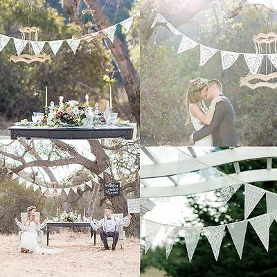3.2m 11 Flags Lace Pennant Vintage Bunting Banner Wedding Party Hanging Decor