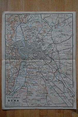 Environs of Rome - Beautiful antique map (Baedeker Alps to Naples [1909])