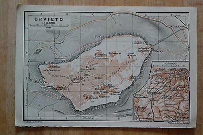 ORVIETO - Italy - Beautiful antique map (Baedeker Alps to Naples [1909])