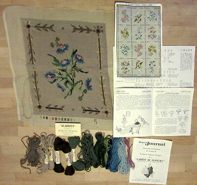 Vintage 1958 Tapestry Panel Kit Woman's Journal SCABIOUS unfinished needlepoint