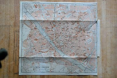 FIRENZE [Florence] Beautiful antique map (from Baedeker Alps to Naples [1909])