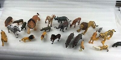 Plastic (PVC) AFRICAN WILD ANIMAL FAMILIES. Lot Of 24 Realistic Some Move!!!