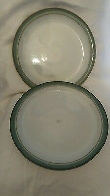 Denby Regency Green 10.25 Inch Dinner Plates   X 2 Cutlery Marks No Back Stamps.