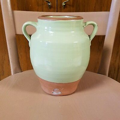 Rowe Pottery Works Cambridge WI Handmade Urn Handles Lt Green Glaze Terracotta