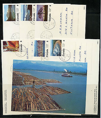 Weeda Canada UX109B VF USED set of 15, 1972 BC Pictorial Post Cards CV $60+