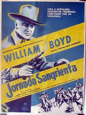 R162  SINISTER JOURNEY linen Mexican  movie poster 1948 Hoppy!, William Boyd