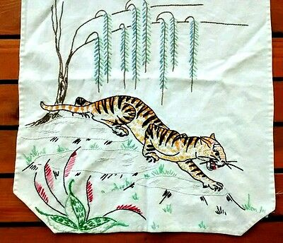 Vintage Handmade Hand Embroidered Tiger Cotton Table Runner