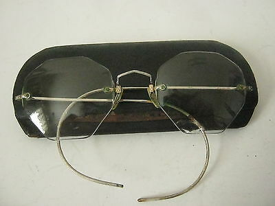 Antique 1/10 12K Gold Filled Spectacles Octagon Eyeglasses Vintage Ear Hooks