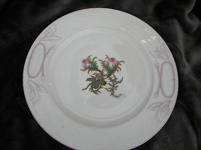 "Antique Haviland ""MOSS ROSE"" - CAKE Plate - PINK TRIM - Limoges c.1880's 9 5/8"""