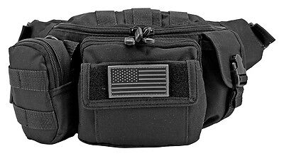 East West USA Utility Tactical Molle Fanny Pack Pouch Waist Bag W american flag